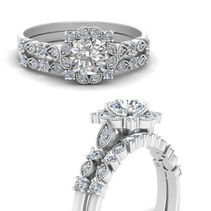 Art Deco Wedding Ring Set