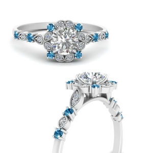 Vintage Flower Engagement Ring