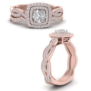 Lab Diamond Double Halo Rings