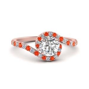 Pave Swirl Round Diamond Ring