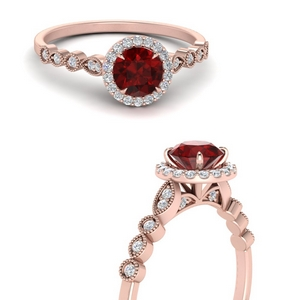 Ruby Vintage Inspired Halo Ring