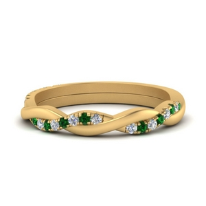 Braided Diamond Band With Emerald