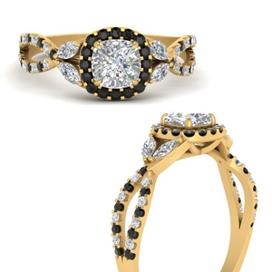 floral-split-shank-cushion-cut-halo-engagement-ring-with-black-diamond-in-FDENS3303CURGBLACKANGLE3-NL-YG