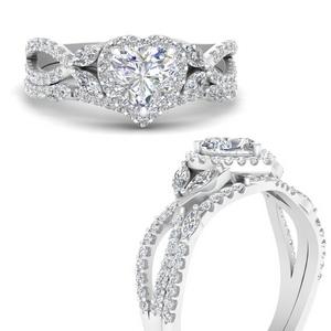 Heart Halo Bridal Ring Set