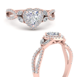 Twisted Vine Heart Halo Ring