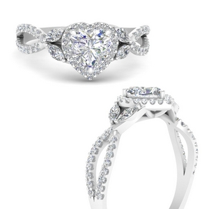 Heart Shaped 14K White Gold Halo Rings
