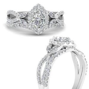 Marquise Halo Bridal Ring Set