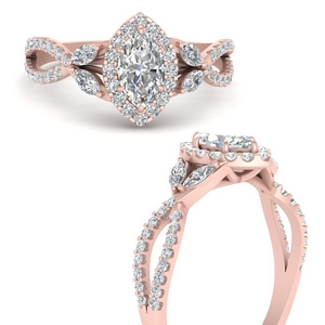 Marquise Shaped Diamond Halo Rings