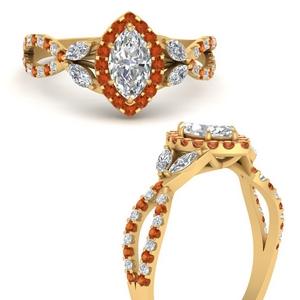 Marquise Split Orange Sapphire Ring