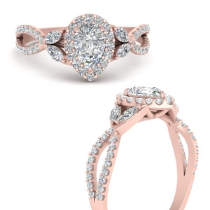Pear Floral Split Shank Halo Ring
