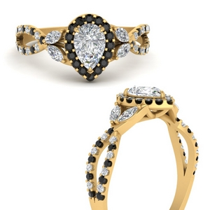 floral-halo-twisted-pear-shaped-engagement-ring-with-black-diamond-in-FDENS3303PERGBLACKANGLE3-NL-YG