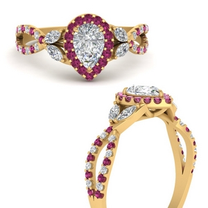 floral-halo-twisted-pear-shaped-diamond-engagement-ring-with-pink-sapphire-in-FDENS3303PERGSADRPIANGLE3-NL-YG