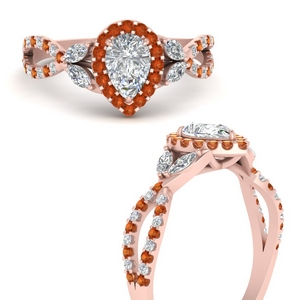 floral-halo-twisted-pear-shaped-diamond-engagement-ring-with-orange-sapphire-in-FDENS3303PERGSAORANGLE3-NL-RG