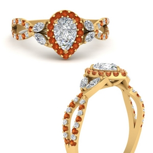 floral-halo-twisted-pear-shaped-diamond-engagement-ring-with-orange-sapphire-in-FDENS3303PERGSAORANGLE3-NL-YG