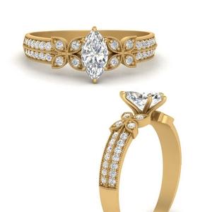 milgrain-petal-vintage-marquise-cut-diamond-engagement-ring-in-FDENS3308MQRANGLE3-NL-YG