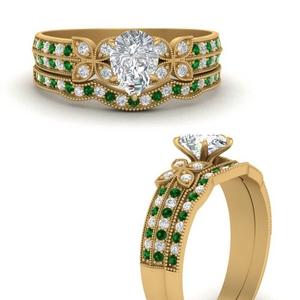 milgrain-petal-pear-shaped-diamond-wedding-ring-set-with-emerald-in-FDENS3308PEGEMGRANGLE3-NL-YG