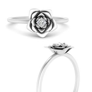 Flower Moissanite Solitaire Ring