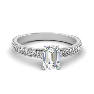 Emerald Cut Solitaire Lab Diamond Rings