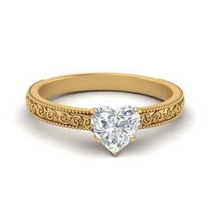 Moissanite Engraved Solitaire Ring