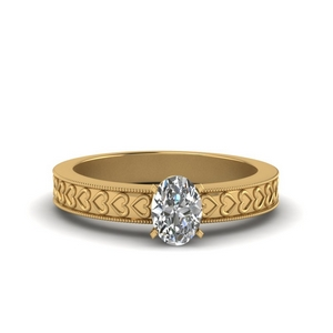 Heart Engraved Solitaire Ring