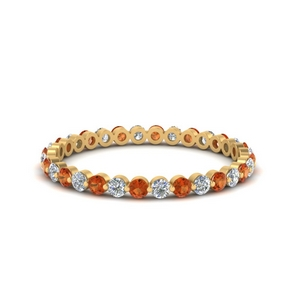 half-carat-common-prong-diamond-wedding-band-with-orange-sapphire-in-FDEWB9477(0.50ct)GSAOR-NL-YG