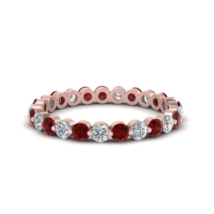 1-carat-single-prong-diamond-eternity-wedding-band-with-ruby-in-FDEWB9477B(1.00ct)GRUDR-NL-RG