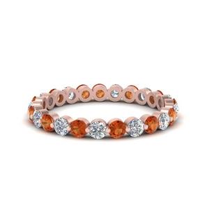 1-carat-single-prong-diamond-eternity-wedding-band-with-orange-sapphire-in-FDEWB9477B(1.00ct)GSAOR-NL-RG