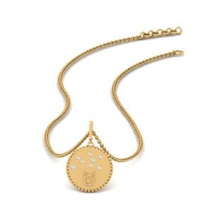 Gold Disc Taurus Diamond Pendant