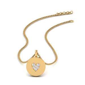 Disc Heart Pave Diamond Pendant