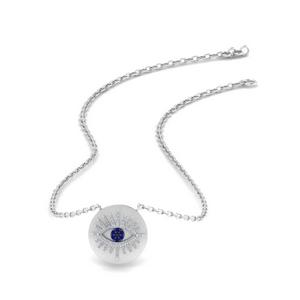 Evil Eye Disc Sapphire Necklace
