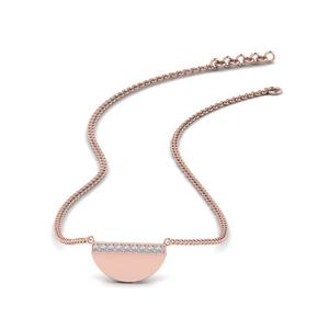 Half Disc Diamond Stack Necklace