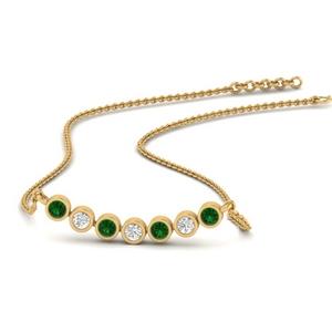 Bezel Set Emerald Anniversary Necklace