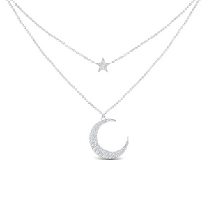 Double Chain Moon And Star Necklace