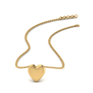 Puffy Heart Gold Necklace