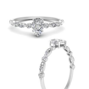 Pear Side Stone Lab Diamond Rings