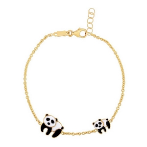 Mom And Baby Panda Gold Bracelet