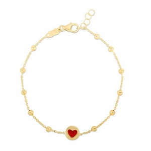 Enamel Filled Heart Gold Bracelet