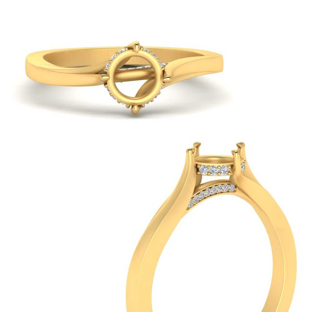 Swirl Prong Diamond Ring Setting