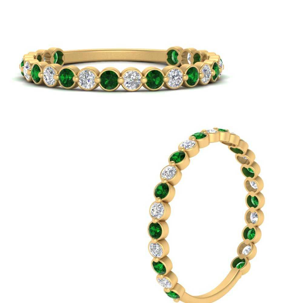 round-bezel-diamond-half-eternity-ring-with-emerald-in-FD8873BGEMGRANGLE3-NL-YG