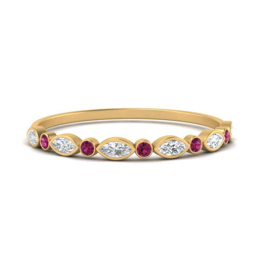 bezel-set-thin-stackable-diamond-band-with-pink-sapphire-in-FDWB5075GSADRPI-NL-YG