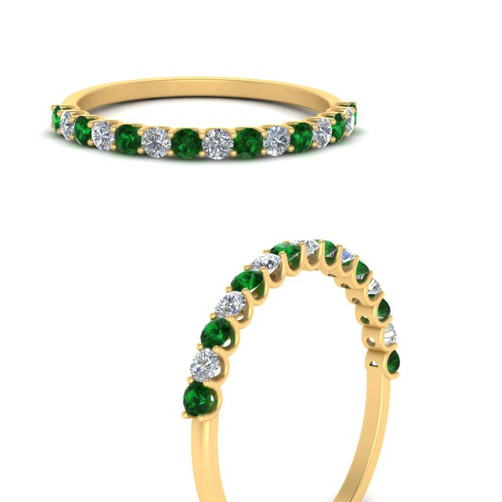 u-prong-thin-round-emerald-wedding-band-in-FD9125GEMGRANGLE3-NL-YG