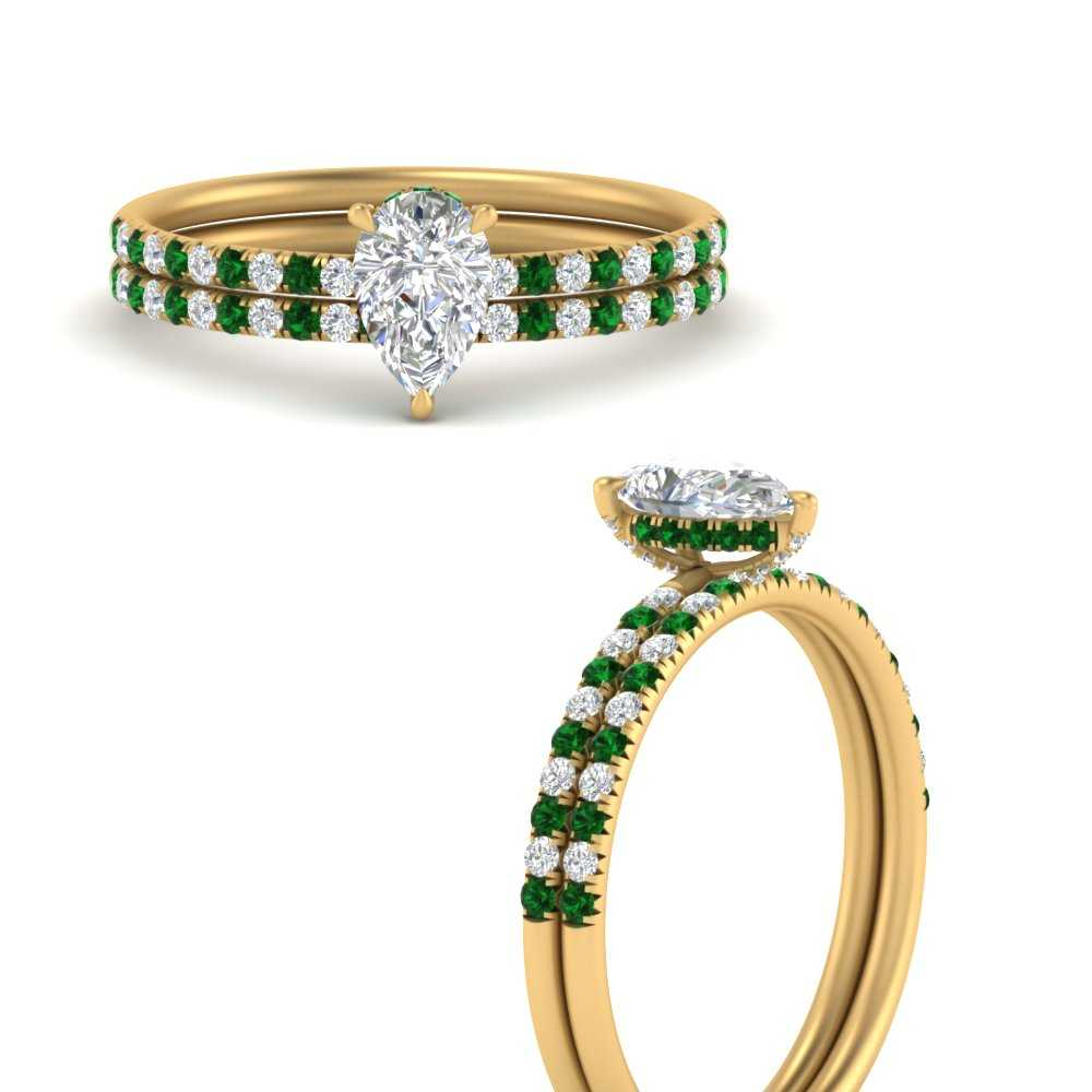 pear-shape-under-halo-halo-pave-wedding-ring-with-emerald-in-FD8523PEGEMGRANGLE3-NL-YG