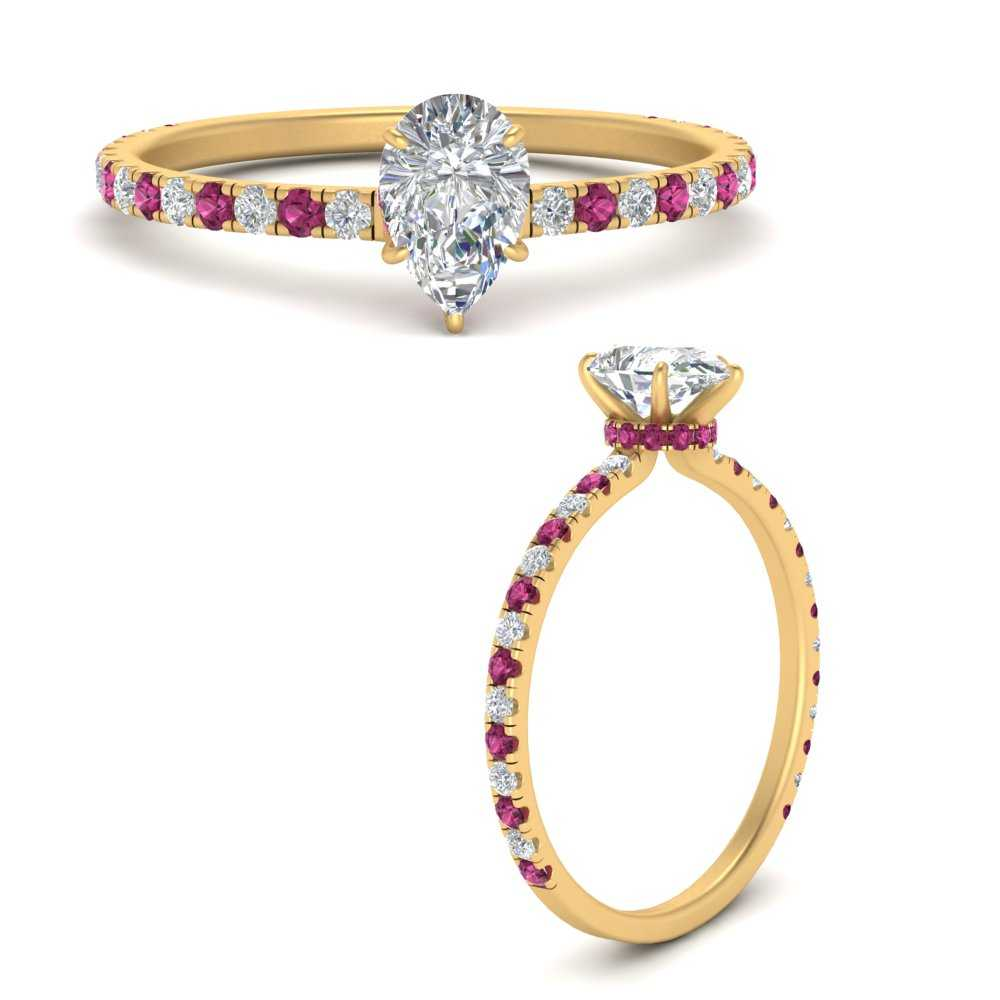 three-fourth-under-halo-pear-shaped-diamond-engagement-ring-with-pink-sapphire-in-FD9168PERGSADRPIANGLE3-NL-YG