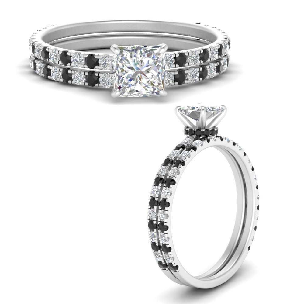 three-quarter-princess-cut-gallery-bridal-ring-set-with-black-diamond-in-FD9168PRGBLACKANGLE3-NL-WG