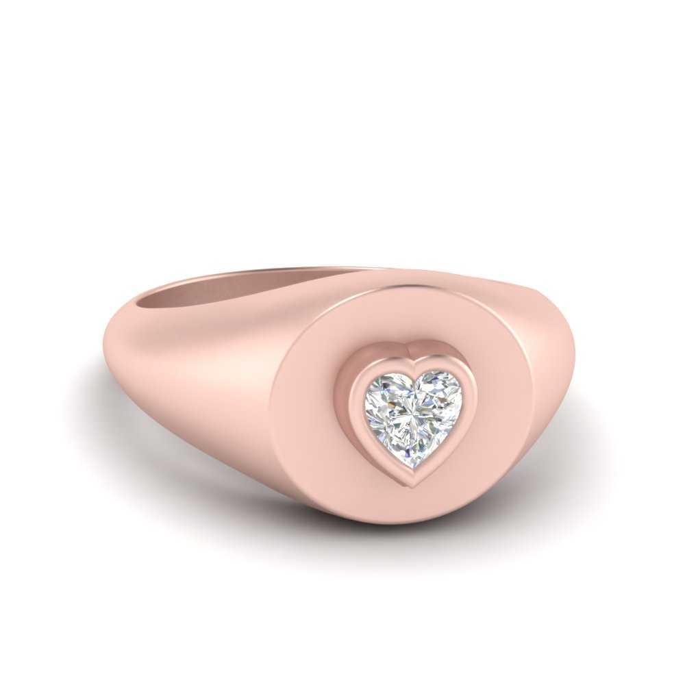 Heart Signet Diamond Ring