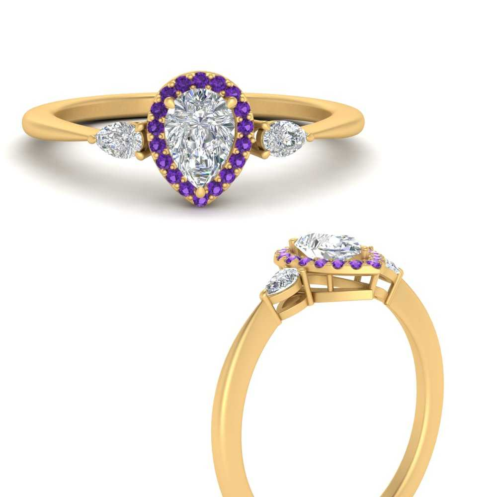 3-stone-pear-accents-pear-shaped-halo-moissanite-engagement-ring-with-purple-topaz-in-FD9570PERGVITOANGLE3-NL-YG