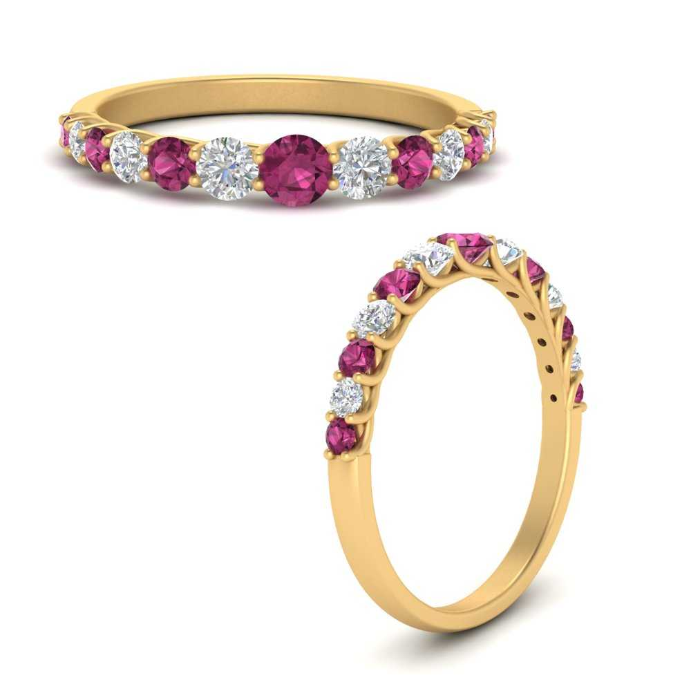 shared-prong-graduated-diamond-women-wedding-band-with-pink-sapphire-in-FD9581GSADRPIANGLE3-NL-YG