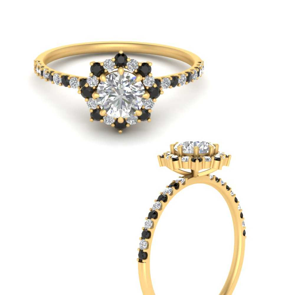 sunflower-round-halo-engagement-ring-with-black-diamond-in-FD9596RORGBLACKANGLE3-NL-YG
