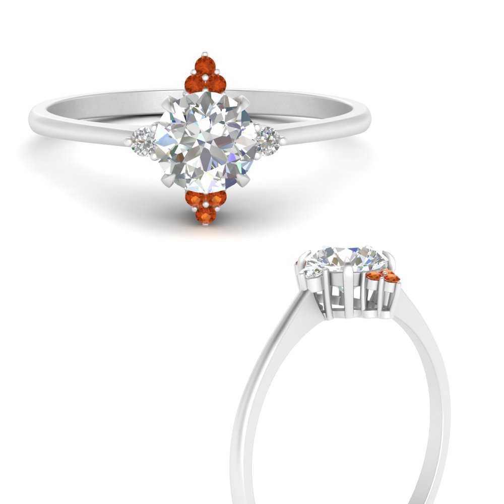 simple-vintage-round-diamond-engagement-ring-with-orange-sapphire-in-FD9605RORGSAORANGLE3-NL-WG