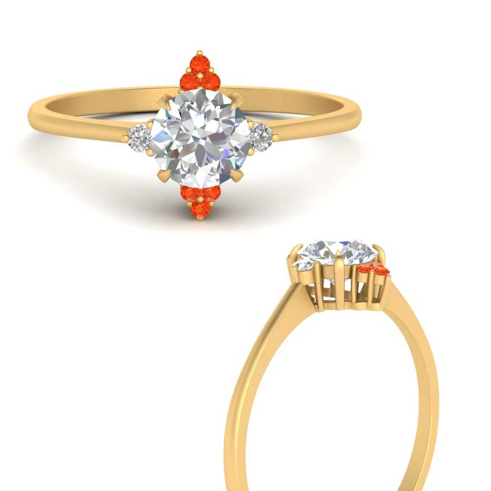 simple-vintage-round-diamond-engagement-ring-with-orange-topaz-in-FD9605RORGPOTOANGLE3-NL-YG